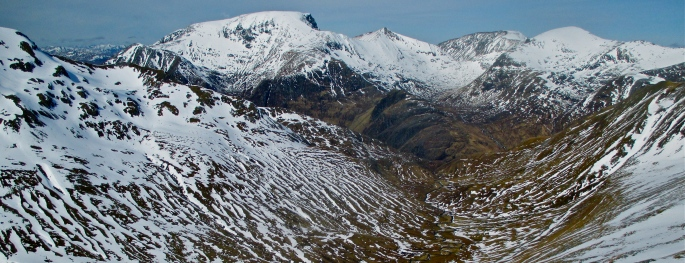 Ben Nevis and CMD arete from Ring of Steall