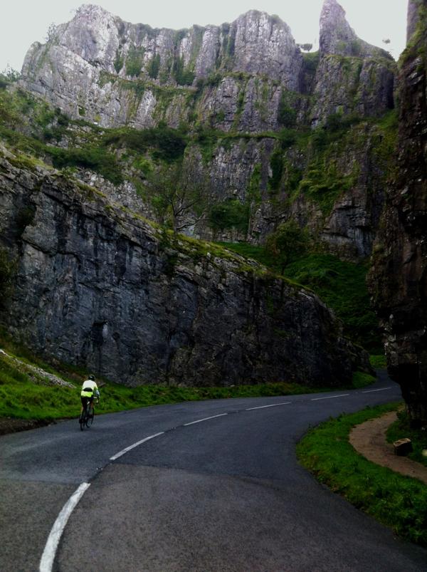 Riding through the impressive Cheddar Gorge
