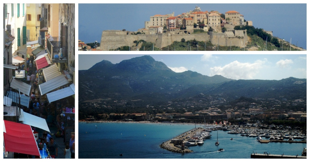 Views from around Calvi: a busy street; the citadel; and the view to the mountains from the citadel