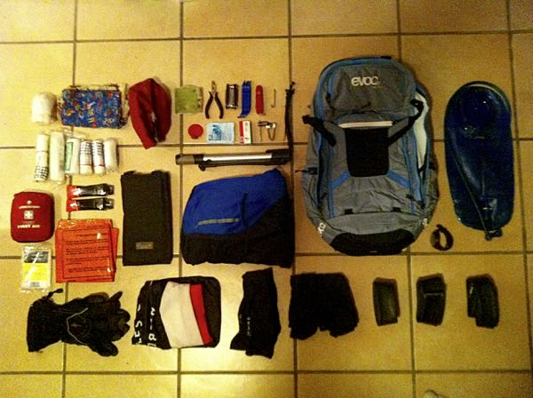 A photo of the contents of my mountain bike guiding bag from 2013