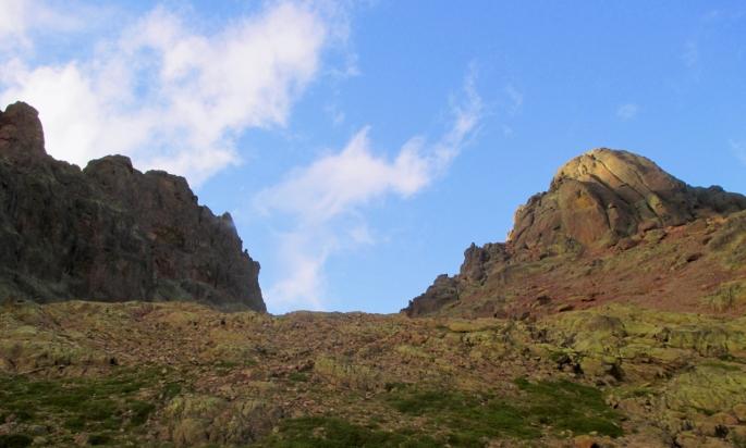 The view from the Refuge de Ciottulu di I Mori towards the Paglia Orba (right)