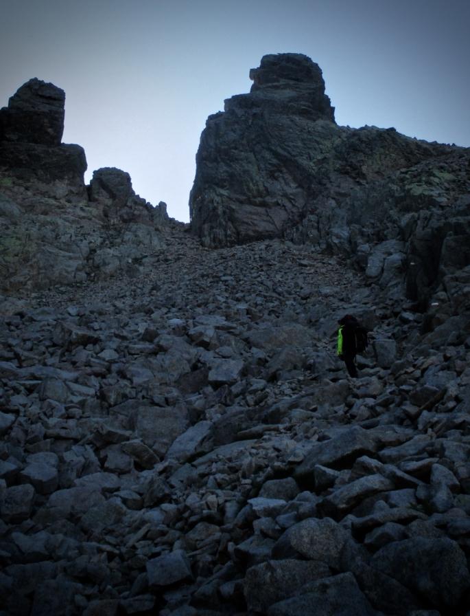 Boulder strewn slog to the Brèche de Capitellu