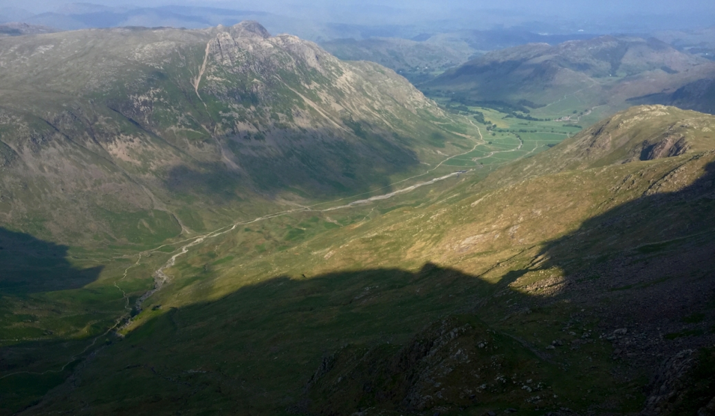Bow Fell casting its shadow over Mickleden