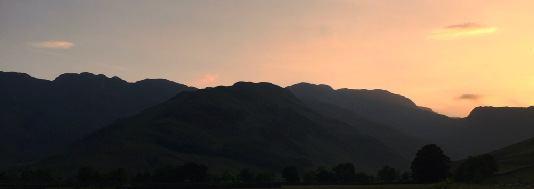 Sunset skyline looking towards Bow Fell