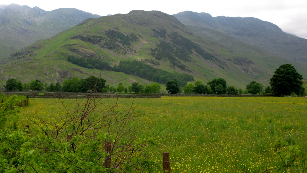 On the approach: The Band (centre), Bowfell (right) and Crinkle Crags (left)